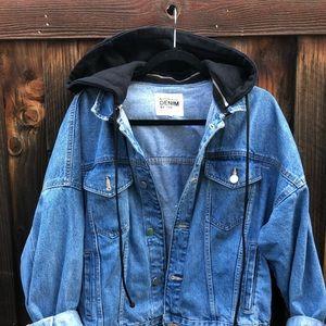 Zara by trf denim jean jacket 90s with hoodie